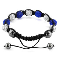 KSEB SHEB Items - SHAMBHALA BRACELETS WHITE SAPPHIRE BLUE CRYSTAL STONE BALLS ADJUSTABLE LACE BRACELET alternate image 1.