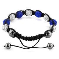 Bracelets - SHAMBHALA BRACELETS WHITE SAPPHIRE BLUE CRYSTAL STONE BALLS ADJUSTABLE LACE BRACELET alternate image 1.