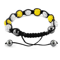 KSEB SHEB Items - SHAMBHALA BRACELETS WHITE TOPAZ YELLOW CRYSTAL STONE BALLS ADJUSTABLE LACE BRACELET alternate image 1.