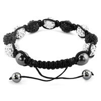 Bracelets - SHAMBHALA BRACELETS WHITE BLACK CRYSTAL STONE BALLS ADJUSTABLE LACE BRACELET alternate image 1.