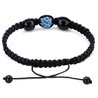 Bracelets - AUTHENTIC AQUAMARINE BLUE BLACK COLOR CRYSTALS SHAMBALLA BRAIDED ADJUSTABLE LACE BRACELET alternate image 1.