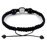 Bracelets - AUTHENTIC CLEAR WHITE BLACK COLOR CRYSTALS SHAMBALLA BRAIDED ADJUSTABLE LACE BRACELET alternate image 1.