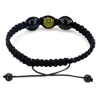 Bracelets - AUTHENTIC EMERALD GREEN BLACK COLOR CRYSTALS SHAMBALLA BRAIDED ADJUSTABLE LACE BRACELET alternate image 1.