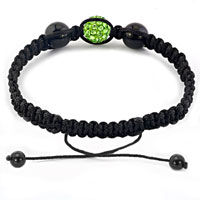 Bracelets - AUTHENTIC PERIDOT GREEN BLACK COLOR CRYSTALS SHAMBALLA BRAIDED ADJUSTABLE LACE BRACELET alternate image 1.