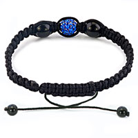 Bracelets - AUTHENTIC SAPPHIRE BLUE BLACK COLOR CRYSTALS SHAMBALLA BRAIDED ADJUSTABLE LACE BRACELET alternate image 1.