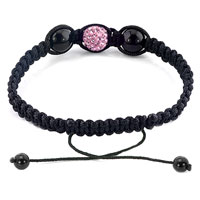 New Year Deals - AUTHENTIC CLASSIC ROSE PINK COLOR CRYSTAL SHAMBALLA BRAIDED BRACELET alternate image 1.