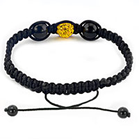 Bracelets - AUTHENTIC TOPAZ YELLOW BLACK COLOR CRYSTALS SHAMBALLA BRAIDED ADJUSTABLE LACE BRACELET alternate image 1.