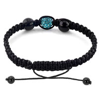 Bracelets - AUTHENTIC BLUE TOPAZ BLACK COLOR CRYSTALS SHAMBALLA BRAIDED ADJUSTABLE LACE BRACELET alternate image 1.