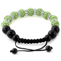 KSEB SHEB Items - SHAMBALLA BRACELET PERIDOT GREEN SWAROVSKI ELEMENTS CZ CRYSTAL STONE DISCO BALLS BEADED BRACELETS alternate image 1.