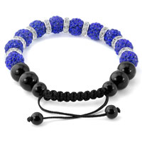 KSEB SHEB Items - SHAMBALLA BRACELET SAPHIRE BLUE SWAROVSKI ELEMENTS CZ CRYSTAL STONE DISCO BALLS BEADED BRACELETS alternate image 1.