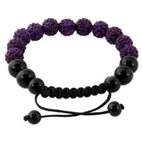 KSEB SHEB Items - AMETHYST PURPLE SHAMBALLA BRACELET SWAROVSKI CRYSTAL CZ STONE DISCO BALLS BEADED BRACELETS alternate image 1.