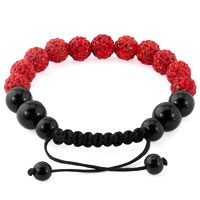 KSEB SHEB Items - RUBY RED SHAMBALLA BRACELET SWAROVSKI CRYSTAL CZ STONE DISCO BALLS BEADED BRACELETS alternate image 1.