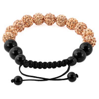 KSEB SHEB Items - BROWN SHAMBALLA BRACELET SWAROVSKI CRYSTAL CZ STONE DISCO BALLS BEADED BRACELETS alternate image 1.