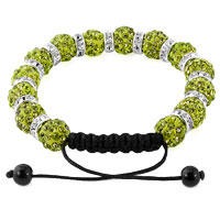 KSEB SHEB Items - SHAMBALLA BRACELET EMERALD GREEN SILVER CRYSTAL DISCO BALLS LACE ADJUSTABLE alternate image 1.