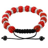 Bracelets - SHAMBALLA BRACELET LIGHT RED SILVER CRYSTAL DISCO BALLS LACE ADJUSTABLE alternate image 1.