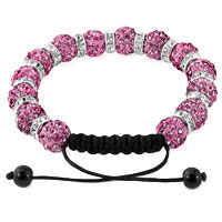 KSEB SHEB Items - SHAMBALLA BRACELET ROSE PINK SILVER CRYSTAL DISCO BALLS LACE ADJUSTABLE alternate image 1.