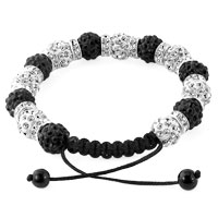 KSEB SHEB Items - SHAMBALLA BRACELET BLACK WHITE SILVER CRYSTAL DISCO BALLS LACE ADJUSTABLE alternate image 1.