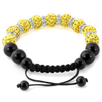 KSEB SHEB Items - SHAMBALLA BRACELET LEMON YELLOW SWAROVSKI ELEMENTS CZ CRYSTAL STONE DISCO BALLS BEADED BRACELETS alternate image 1.