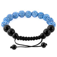 KSEB SHEB Items - AQUAMARINE BLUE SHAMBALLA BRACELET SWAROVSKI CRYSTAL CZ STONE DISCO BALLS BEADED BRACELETS alternate image 1.