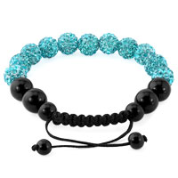 KSEB SHEB Items - BLUE SHAMBALLA BRACELET SWAROVSKI CRYSTAL CZ STONE DISCO BALLS BEADED BRACELETS alternate image 1.