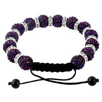 KSEB SHEB Items - SHAMBALLA BRACELET AMETHYST PURPLE SILVER CRYSTAL DISCO BALLS LACE ADJUSTABLE alternate image 1.