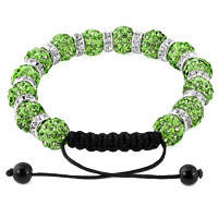 KSEB SHEB Items - SHAMBALLA BRACELET PERIDOT GREEN SILVER CRYSTAL DISCO BALLS LACE ADJUSTABLE alternate image 1.