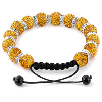 KSEB SHEB Items - SHAMBALLA BRACELET TOPAZ YELLOW SILVER CRYSTAL DISCO BALLS LACE ADJUSTABLE alternate image 1.