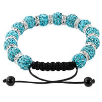 KSEB SHEB Items - SHAMBALLA BRACELET BLUE TOPAZ SILVER CRYSTAL DISCO BALLS LACE ADJUSTABLE alternate image 1.