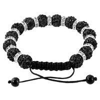 KSEB SHEB Items - SHAMBALLA BRACELET CLASSIC BLACK SILVER CRYSTAL DISCO BALLS LACE ADJUSTABLE alternate image 1.