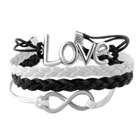 Bracelets - INFINITY BRACELETS SIDEWAYS LOVE WHITE BLACK BRAIDED LEATHER ROPE BANGLE BRACELET alternate image 1.
