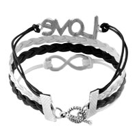 Bracelets - INFINITY BRACELETS SIDEWAYS LOVE WHITE BLACK BRAIDED LEATHER ROPE BANGLE BRACELET alternate image 2.