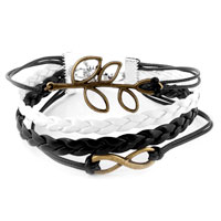 Man's Jewelry - TREE OF LIFE SIDEWAYS INFINITY BRACELETS SYMBOL BROWN BRAIDED LEATHER ROPE BANGLE BRACELET alternate image 1.