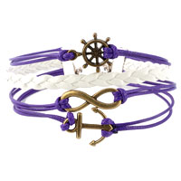 Bracelets - INFINITY BRACELETS ANCHOR SIDEWAYS WHEEL PURPLE BRAIDED LEATHER ROPE BANGLE BRACELET alternate image 1.