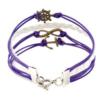 Bracelets - INFINITY BRACELETS ANCHOR SIDEWAYS WHEEL PURPLE BRAIDED LEATHER ROPE BANGLE BRACELET alternate image 2.