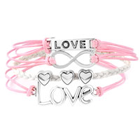 Bracelets - INFINITY BRACELETS ANCHOR SIDEWAYS HEART LOVE PINK BRAIDED LEATHER ROPE BANGLE BRACELET alternate image 1.