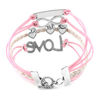 Bracelets - INFINITY BRACELETS ANCHOR SIDEWAYS HEART LOVE PINK BRAIDED LEATHER ROPE BANGLE BRACELET alternate image 2.