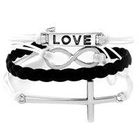 Bracelets - INFINITY BRACELETS LOVE SIDEWAYS CROSS BLACK BRAIDED LEATHER ROPE BANGLE BRACELET alternate image 1.