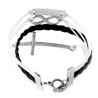 Bracelets - INFINITY BRACELETS LOVE SIDEWAYS CROSS BLACK BRAIDED LEATHER ROPE BANGLE BRACELET alternate image 2.