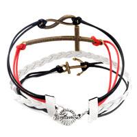 Bracelets - INFINITY BRACELETS ANCHOR SIDEWAYS CROSS COLOR BRAIDED LEATHER ROPE BANGLE BRACELET alternate image 2.