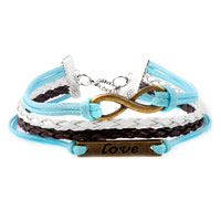 Bracelets - INFINITY BRACELETS SIDEWAYS LOVE COLOR BRAIDED LEATHER ROPE BANGLE BRACELET alternate image 1.