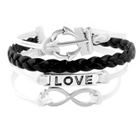 Bracelets - INFINITY BRACELETS ANCHOR SIDEWAYS LOVE BLACK BRAIDED LEATHER ROPE BANGLE BRACELET alternate image 1.