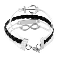 Bracelets - INFINITY BRACELETS ANCHOR SIDEWAYS LOVE BLACK BRAIDED LEATHER ROPE BANGLE BRACELET alternate image 2.