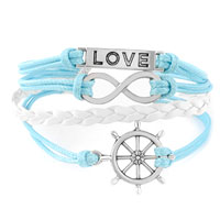 Man's Jewelry - NAUTICAL WHEEL SIDEWAYS INFINITY BRACELETS LOVE BLUE BRAIDED LEATHER ROPE BANGLE BRACELET alternate image 1.