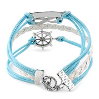 Man's Jewelry - NAUTICAL WHEEL SIDEWAYS INFINITY BRACELETS LOVE BLUE BRAIDED LEATHER ROPE BANGLE BRACELET alternate image 2.