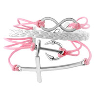 Bracelets - INFINITY BRACELETS ANCHOR SIDEWAYS CROSS PINK BRAIDED LEATHER ROPE BANGLE BRACELET alternate image 1.