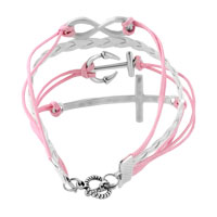 Bracelets - INFINITY BRACELETS ANCHOR SIDEWAYS CROSS PINK BRAIDED LEATHER ROPE BANGLE BRACELET alternate image 2.