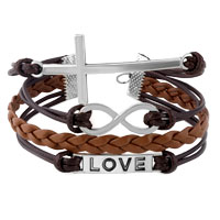 Bracelets - INFINITY BRACELETS LOVE SIDEWAYS CROSS COFFEE BROWN BRAIDED LEATHER ROPE BANGLE BRACELET alternate image 1.