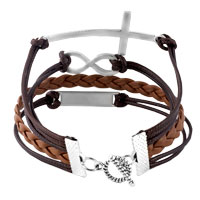 Bracelets - INFINITY BRACELETS LOVE SIDEWAYS CROSS COFFEE BROWN BRAIDED LEATHER ROPE BANGLE BRACELET alternate image 2.