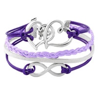 Bracelets - INFINITY BRACELETS SIDEWAYS HEART LOVE PURPLE BRAIDED LEATHER ROPE BANGLE BRACELET alternate image 1.