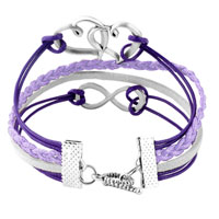Bracelets - INFINITY BRACELETS SIDEWAYS HEART LOVE PURPLE BRAIDED LEATHER ROPE BANGLE BRACELET alternate image 2.